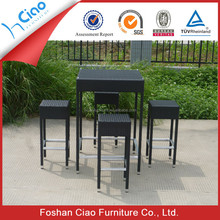 Modern high top rattan glass bar table chairs with aluminum frame