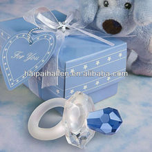 Choice Crystal Multi-Faceted Baby Boy Blue Pacifier Favor