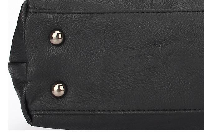 Элина в новые женщины мода старинные пушки Тисненая кожа заклепки средних молния handbage сумка черный