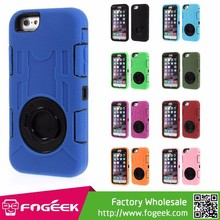 Durable 3 Pieces PC + Silicone Hybrid Shield Case w/ Swivel Kickstand for iPhone 6 4.7-inch