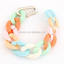 wholesale colorful resin chain bracelet simple bracelet with Hook Clasp