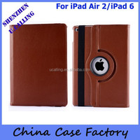 Top Quality For iPad Air 2 Plain 360 Rotation Leather Cover