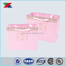 Custom Pink color Fashion Paper bags with logo printed