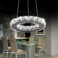 Silver Crystal Ring LED Chandelier Crystal Lamp / Light / Lighting Fixture Modern LED Circle Light