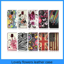 For Samsung Galaxy S5 i9600 Lovely Flowers Flip Leather Cover Case/Samsung Galaxy S5 Case