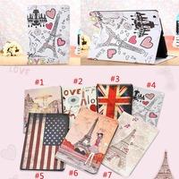 Cute Girl Eiffel Tower Print Flip Leather Case For iPad Mini 4