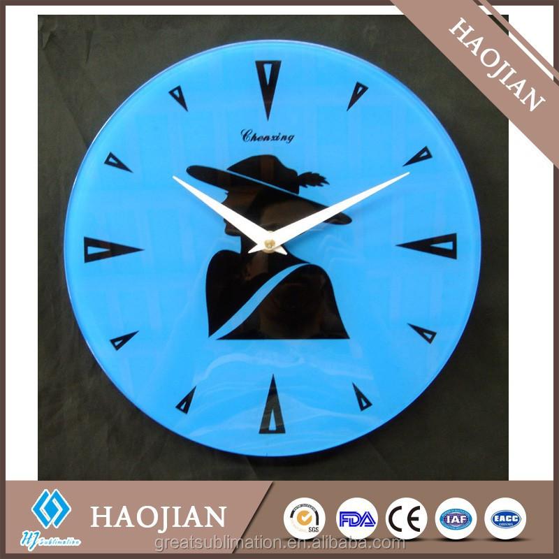 custom image sublimation blank glass wall clock