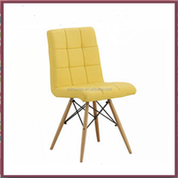 PU seat with wood leg plastic chair furniture