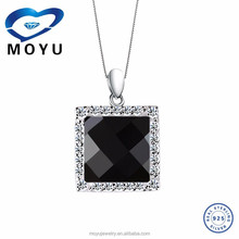 2015Best selling silver agate pendant with 925 silver factory price