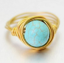 Fashion Turquoise Round Cut Natural Stone Rings For Womens Wedding Rings