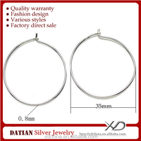 XD P128 925 sterling silver earring accessory 35mm wholesale hoops to make earrings