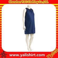 2015 venta caliente de moda cómoda de algodón sin mangas bordado cuello de cambray más el vestido de maternidad para mujeres embarazadas