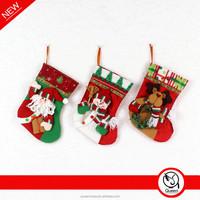 wholesale 2015 christmas socks decoration, fabric crafts christmas socks, popular design christmas socks