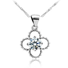 Fashion 925 Sterling Silver Flower Pendant Jewelry Paved Zircon for Women