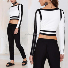 Oem service fashion new designing long sleeve ladies formal crop tops 2015