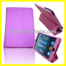 Pink spandex leather Magnetic Smart Stand Cover trifold case For iPad Mini