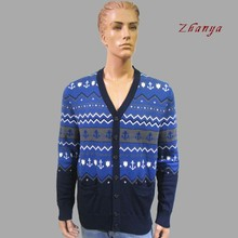 Mans cotton cardigan jacquard knitted sweater