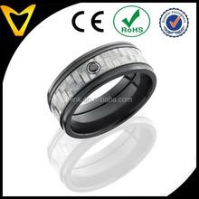 Alibaba China Fashion Diamond Engagement Ring Titanium Wedding Bands, Black diamond, Carbon Fiber Inlay & Black Titanium Rings