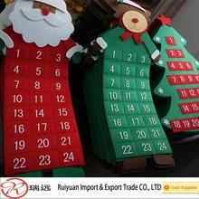 High posititive feedback!!!reindeer,santa claus,sowman design felt advent calendar for promotion MADE IN CHINA