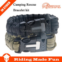 4 in 1 Survival Flint Fire starter Paracord Whistle Gear Buckle Camping Ignition Equipment Rescue Rope Escape Bracelet kit