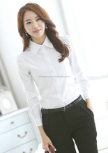 Projetos uniformes escritório para as mulheres 2015 algodão tops gola design das mulheres blusa atacado