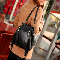 straps removable women leather backpack with tassel women backpack