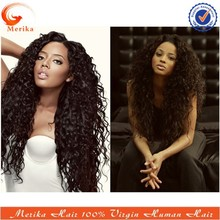 Hot selling celebrity style black long wig brazilian hair afro wave lace front wig
