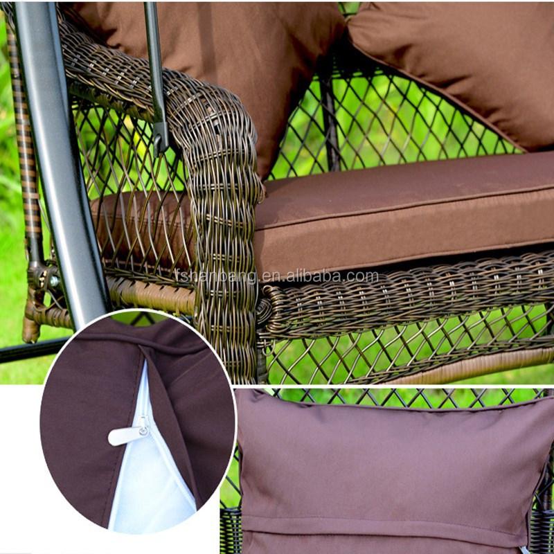 Outdoor patio balkon achtertuin plastic synthetische rotan hars rieten twee seat dubbele tuin - Leuningen smeedijzeren patio ...