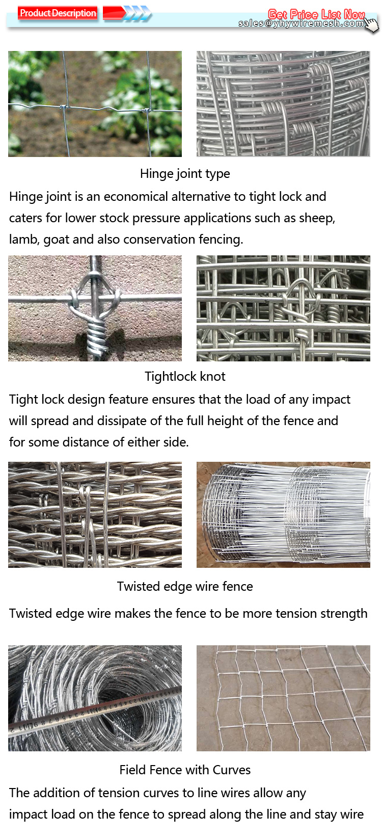 1.8m high Galvanized cattle field fence wire mesh, View cattle fence ...