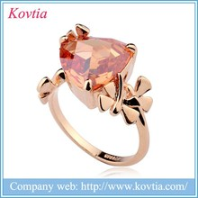 Boho New design high-end nice zircon stone fashion ring with topaz lovely girl favor gold ring