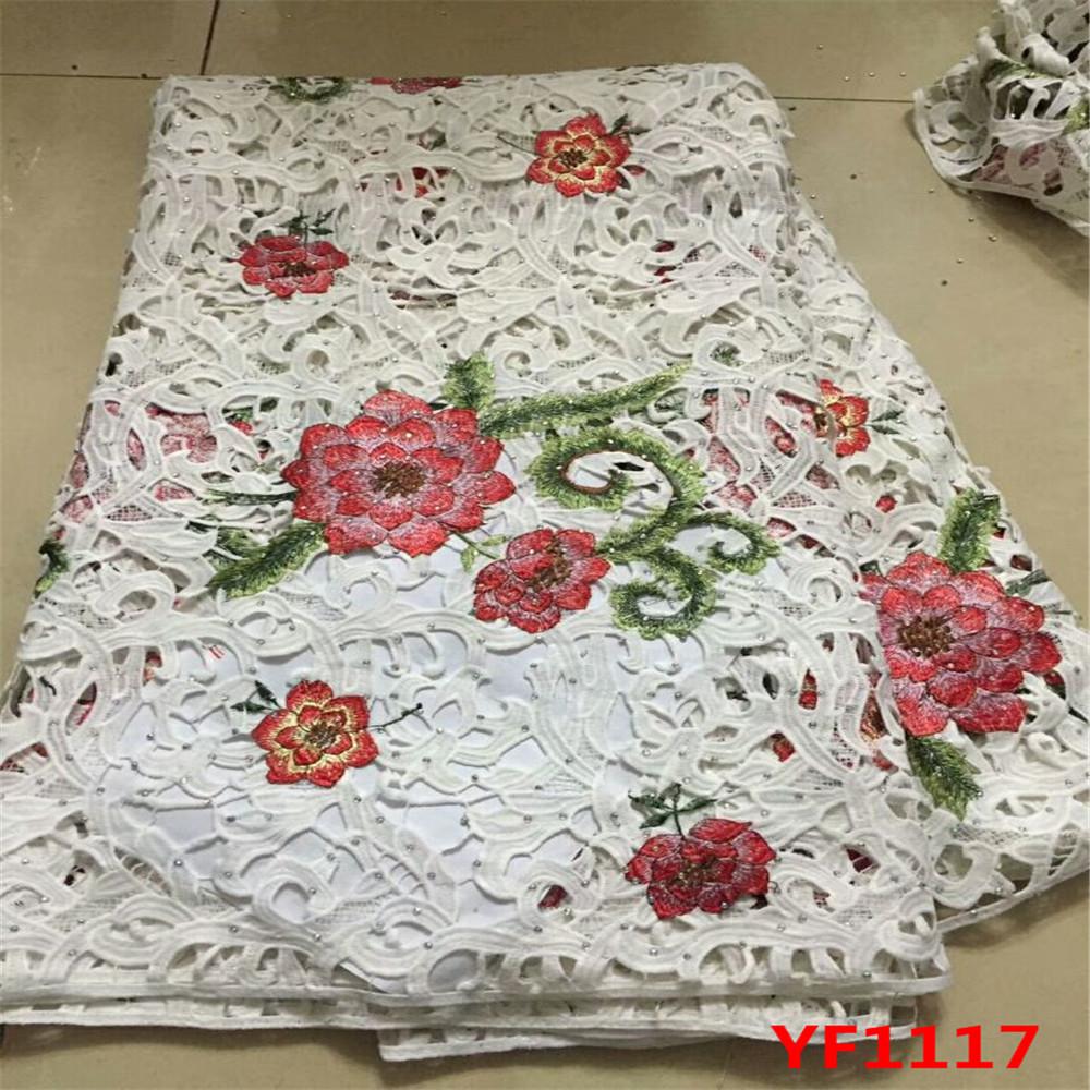 Bonita flor patrones África tela de encaje guipur bordado Diseño ...