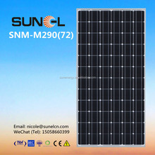 290W mono crystalline solar panel for 20KW home power system
