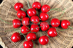 Plastic Mini Wedding Decorative Fruit Artificial Cherries