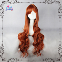 Auburn Colored Long Layered Curly Hair Cosplay Wig