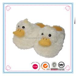 Cut cream long fur ladies duck plush slippers mule