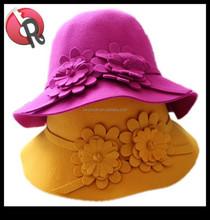 ladies girls women fashion floppy bowler with flower 100% pure wool felt