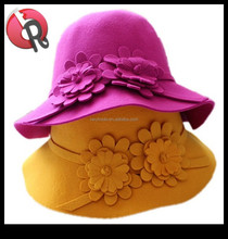 ladies girls women fashion floppy bowler with flower 100% pure wool felt