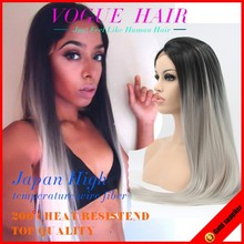 brazilian hair synthetic front lace wig ombre color 180% heavy density silk straight grey hair lace wig