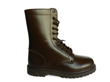 Brown patent leather military boots
