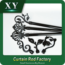 XY 22/28mm black Curtain rod , 28mm Delicate round crystal curtain rod finials ,curtain finials