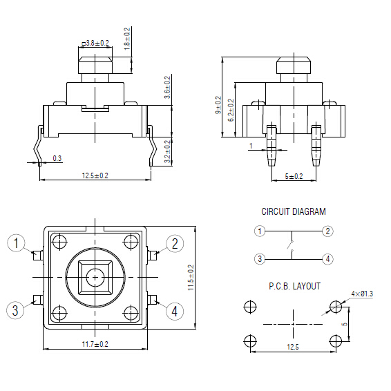 Tsa12110-090 Tact Switch With New Height Of 9mm,Tactile Switch ...
