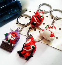 Wholesale Silicone Santa Claus Keychains Keyrings for Christmas Gifts