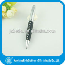 2014 the newest metal black leather line pen ,metal twist leather ball pen