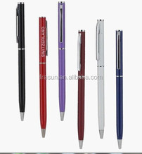 Slim metal ball pen/Metal slim ball pen/stainless steel metal slim ball pen for hotel and advertising