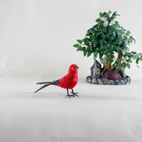 Red color fashion design long tail small decoration plastic bird
