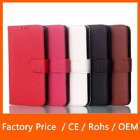 2015 New Design Lychee Texture Open Left and Right Stand with Card Slot Leather Case for LG G3