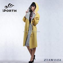 BORTH(R) Fashion Womens Wool Cashmere Winter Overcoat long coats yellow,beige