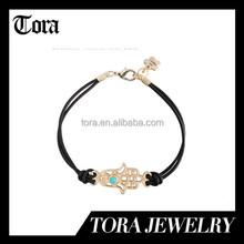 Hip Mall Arab Fatima Hand Bracelet Pendant Knit Rope String Charm bangle