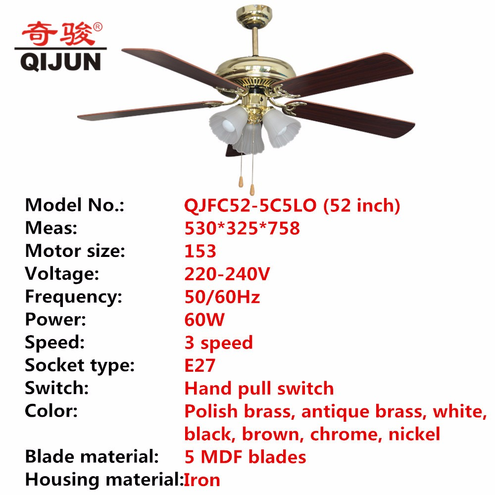 Guangdong Foshan High Quality Ceiling Fans With Dc: 52 Inch High Quality Ceiling Fans With E27