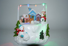 OEM&ODM Christmas ornament suppliers, Christmas table decotations with snowman & house, led lighting